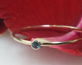 Birthstone stacking ring 14kt yellow white rose gold January February March April May June July August September October November December