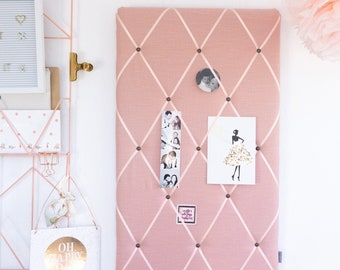 Memoboard - clamping wall with linen in old pink by marengu