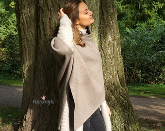 """Noble wool poncho """"Taupe"""" by marengu"""