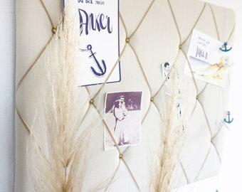 Linen Memoboard - clamping wall in beige by marengu