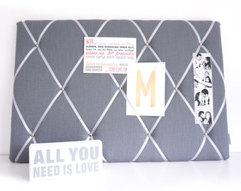 Memoboard - clamping wall made of linen in grey by marengu