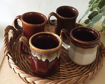 Set of Four Vintage Stoneware Mugs