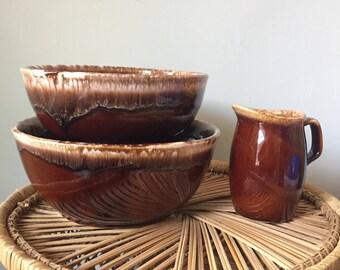 Hull Pottery Nesting Bowl Set with Matching Pitcher