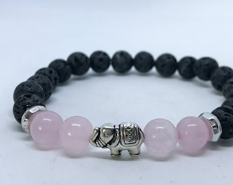 Gift for her, gift for mom Aromatherapy Diffuser Bracelet with Rose Quartz