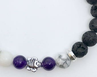Aromatherapy Diffuser Bracelet with Lava, White Howlite, Amethyst and a  Bee Charm, gift for her, gift for girl, gift for mom