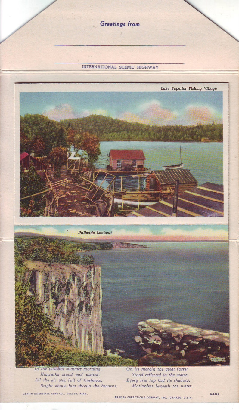 1950 Canada Vintage Unused Drawings Souvenir Booklet of The North Shore of Lake Superior From Duluth to William-Port Arthur