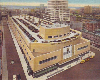 Vintage Post Card of Port Authority Bus Terminal, New York City, Stamped Postcard, 1952