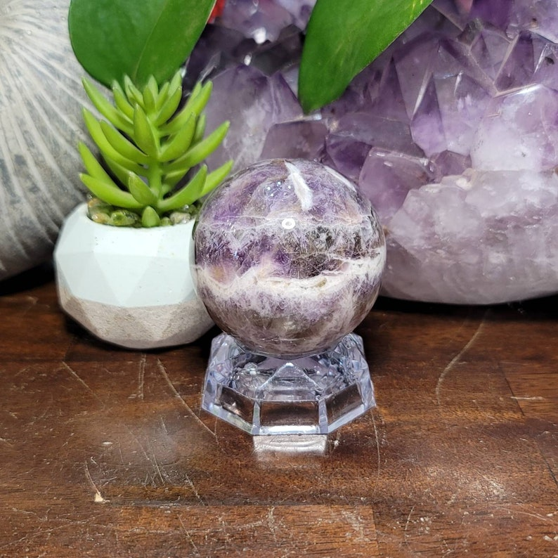Healing Crystal Mineral Specimen #15 Chevron Amethyst Sphere with Stand 58mm Beautiful Chevron Amethyst Crystal Sphere