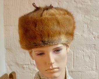 467be21a105 Vintage Genuine Mink Fur Russian Style Ushanka Bomber Tropper Unisex Men  Women Hat Snow size L