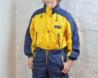 f31df1e05d Vintage 80s 90s Ski Suit By RODEO Blue   yellow Men Women Unisex Activewear  One Piece Ski Suit Jumpsuit Hipster Winter Wear Size M