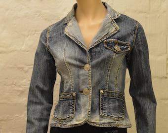 Vintage Women jean jacket 80's Denim Jacket Acid Wash Denim Jacket Button Up Hippie Denim Jacket Disco Denim Jacket Size Small Denim Jacket