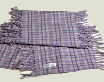 3e1cc052ee34 Vintage Pink Grey Tartan Plaid Lambswool Scarf By OASIS, wool foulard with  fringes on the long sides, Pure Wool Made in Scotland.