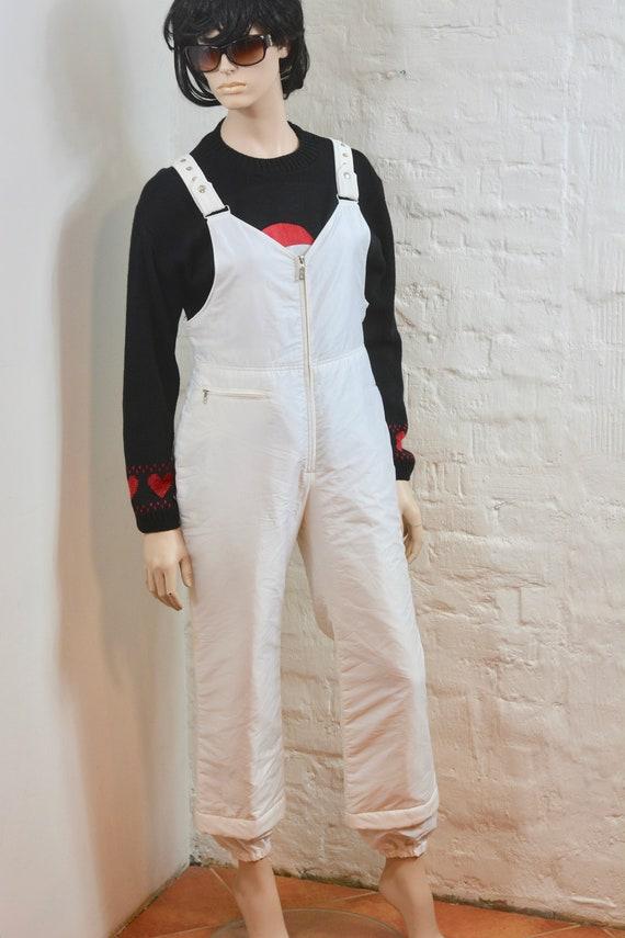 many styles nice cheap fashion style 80s Winter Sport Pants, White Vintage Bogner Ski bib pants overalls womens  , Unisex Winter Activewear Pants Size L
