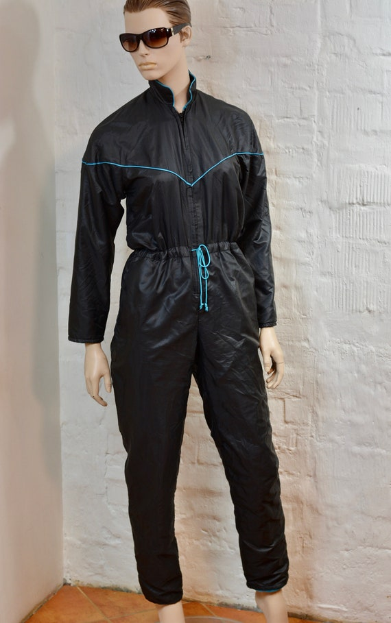 80s 90s Thin Ski Suit By CLOBBER Black Men Women U