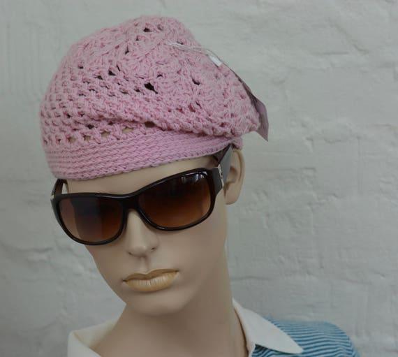 Handmade crochet Pink hat, Cotton beret, winter ha