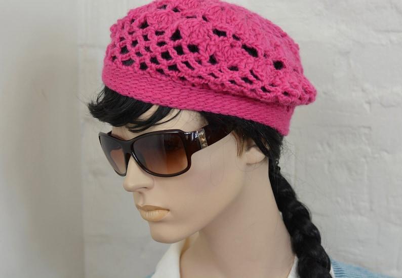 knitted beret. winter beret Handmade crochet Merino wool beret Fuksia winter hat