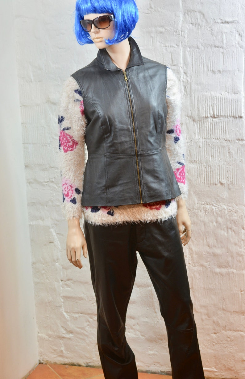 Vintage Women Long Genuine Leather Vest Brown Leather Vest  Leather Vest Size  L