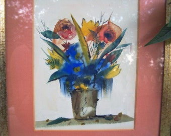Vibrant Floral Watercolor Painting * Framed