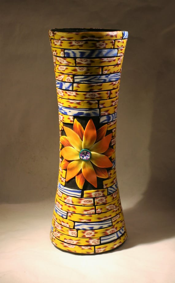 Flower Vase Polymer Clay Covered Glass Etsy