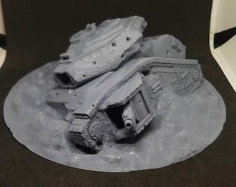 "Slagged Tank ""Bulldog"" Terrain Piece (Imperial Guard Main Battle Tank Alternate Model For Tabletop Wargaming In Space)"