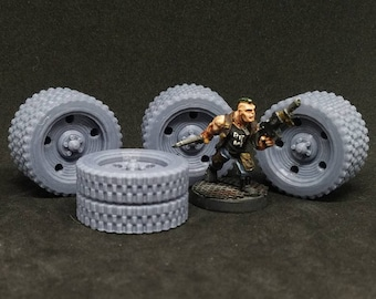 Double Tires 30mm tall Set of 4 (For 28/32mm Model For Tabletop Wargaming In Space)