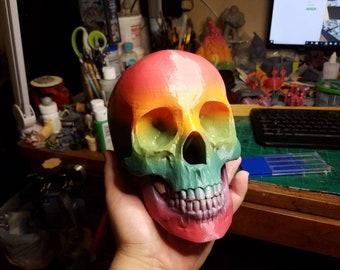 Rainbow Skull 3D Printed Display or Prop Piece
