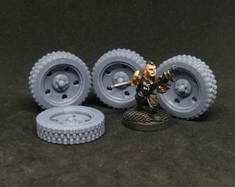Single Tires 30mm tall Set of 4 (For 28/32mm Model For Tabletop Wargaming In Space)