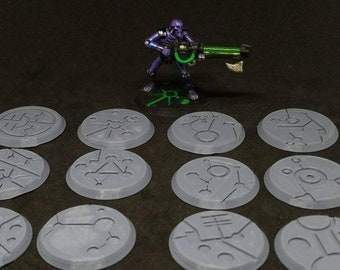 32mm Ancient Themed Miniature Bases 3D Printed Pack of 12