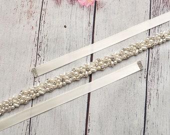 Bridal Belt Belt Wedding Wedding Dress Dress Narrow Silver Rhinestone Beads White ivory