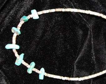 Turquoise and Pucca Shell Necklace