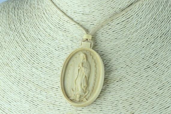 Our Lady of Guadalupe Medallion   Wood Catholic necklace