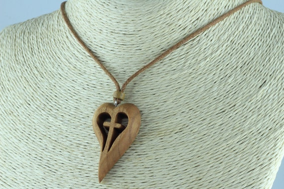 Snakewood Wooden Heart Necklace Heart Pendant