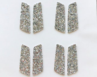 f00c5b3d4 SILVER GLITTER Fabric Faux Leather Modern Earring Cutout Teardrop Shapes,  DIY Earring Making Parts, Geometric Earrings Supplier