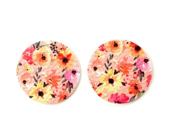 NEW! Peach Petals Summer Floral Print Lilly Inspired Faux Leather Circle Disc Earring Teardrop Pendants, DIY Earring Parts, Die Cut Shapes
