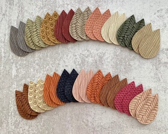 New! Autumn Fall Earth Tones Colors Leather DIY Earring Blanks Teardrop Sample Pack, Tear Drops for Earrings, Wholesale Winter Pendants