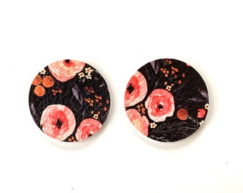 NEW! Black Peony Floral Print Lilly Inspired Faux Leather Circle Disc Earring Teardrop Pendants, DIY Earring Parts, Die Cut Shapes, DIY