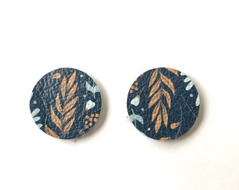 """NEW! Fall Navy Wildflower Print Leather TINY CIRCLE Earring Pendants, Diy Earrings, Wholesale Embossed Teardrops .75"""", Leather Dainty Circle"""