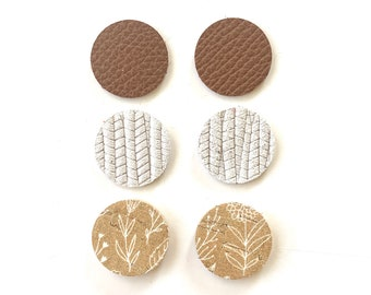 Tiny Circle Earring Bundle, Chocolate Brown Luxe, White Palm, and Mustard Wildflower Print Pendants, Genuine Leather DIY Earrings