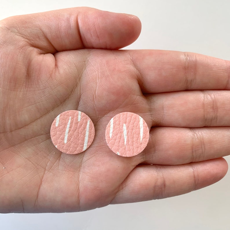 New Light Pink Abstract Brush Strokes TINY CIRCLE Earring Blank VEGAN Leather Earring Pendant Earring Wholesale Shapes .75 Discs