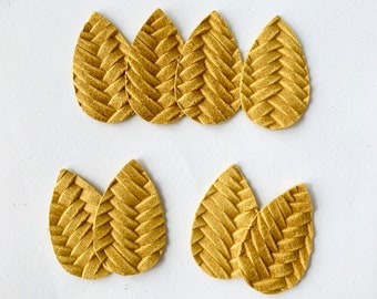 Small MUSTARD Yellow Braided Fishtail Leather Teardrop Shapes, Die Cut Out Leather Tear Drop Pieces for DIY Earrings, Wholesale supplier
