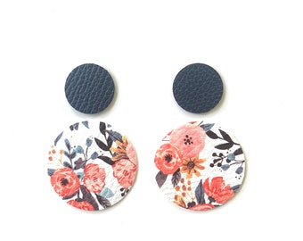 Pink/White Peonies with Classic Navy Luxe Circle Earring Bundle Teardrop Pendants, Genuine Leather DIY Earring Shapes, Layered Circles