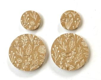 Mustard Wildflower Floral Double Circle Earring Bundle Teardrop Pendants, Genuine Leather DIY Earring Shapes, Layered Circular Earrings