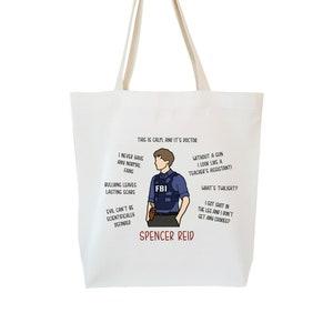 Spencer Reid Shirt Dr Spencer Reid Criminal Minds TV Quotes Tote Bag Grocery Calico Tote Bag Gifts