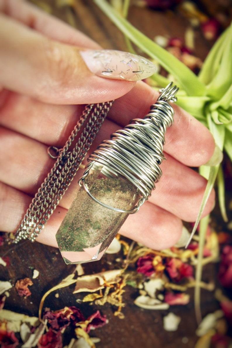 Chlorite Quartz Wire Wrap Crystal Necklace Handmade