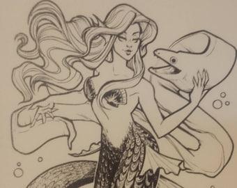 Mermaid and Moray Eel Friend