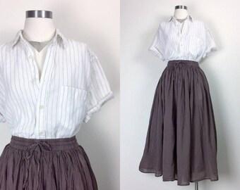 vintage linen blouse/ linen shirt/ minimalist linen top/ stripe shirt/ women's size M