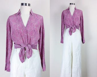 Vintage silk button down blouse/shirt/top pink women's size S/M