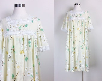 vintage floral sleeping gown/ robe/ sleepwear/ women's size S Made in USA