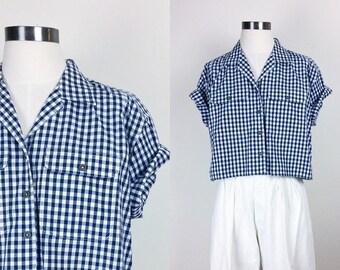 vintage gingham boxy shirt boxy top boxy blouse women's size S/M