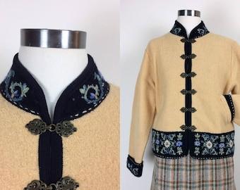 vintage wool embroidered floral jacket/blazer women's size S/M